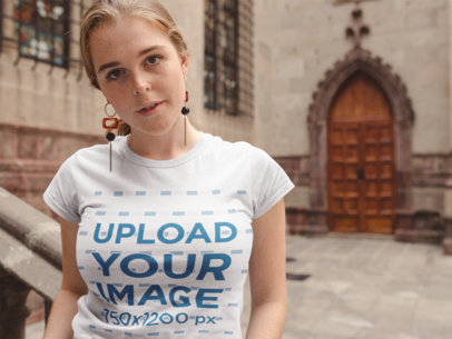 T-Shirt Mockup of a Girl with Freckles Outside a Church 22652