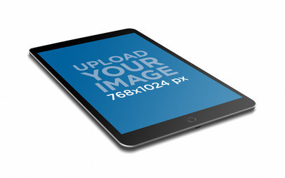 iPad Render Mockup Lying Angled Vertically Towards One Side 22801