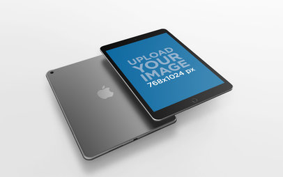 iPad Render Mockup Displaying Both Front and Back Views 22802