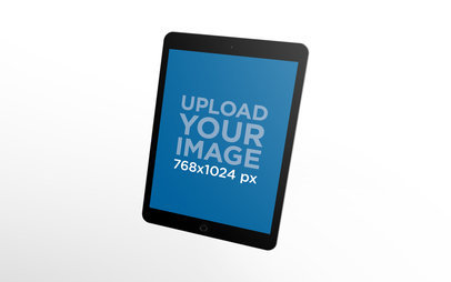 Space Gray iPad Render Mockup Floating Over a Solid Backdrop 22803