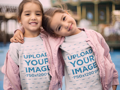 Round Neck Tee Mockup Featuring Little Twin Sisters Hugging 22531
