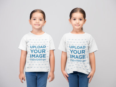 T-Shirt Mockup of Twin Girls at a Photo Studio 22511