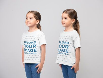 Mockup of Cute Twin Girls Wearing T-Shirts 22512