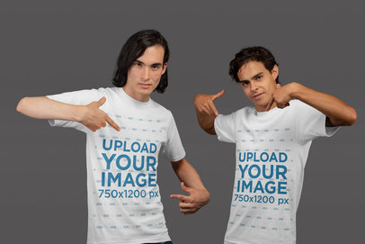 T-Shirt Mockup of Two Gamer Men Pointing to Their Chest 21109