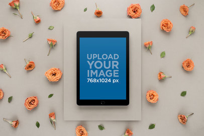 iPad Mockup Set in a Studio Surrounded by Roses 22549
