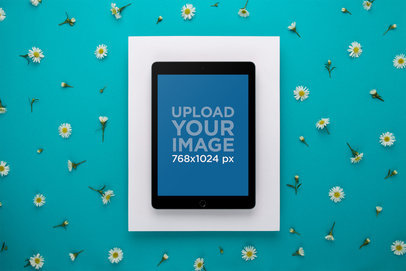 iPad Mockup Over a Turquoise Background Surrounded by Daisies 22702
