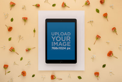 iPad Mockup Surrounded by Orange Roses 22552