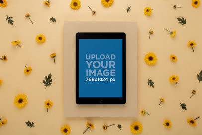 Space Gray iPad Mockup Surrounded by Yellow Hues 22705