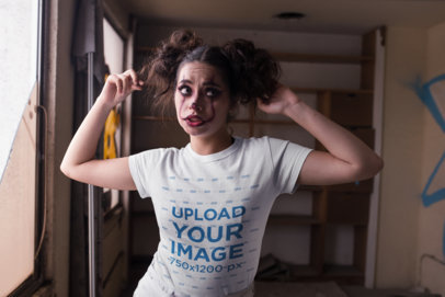 T-Shirt Mockup of a Woman with Clown Make-Up for Halloween 22936