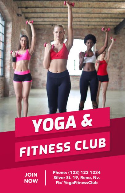 Yoga Class Flyer Template for a Fitness Club 696