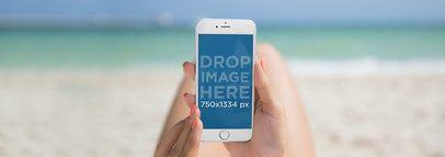 Amazing White iPhone 6 Mockup at the Beach