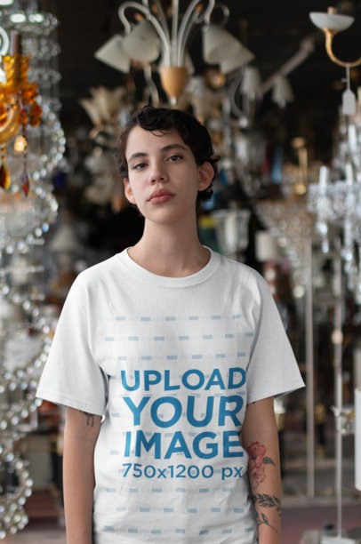 Unisex Round Neck Tee Mockup of a Girl at an Antiques Store 22743