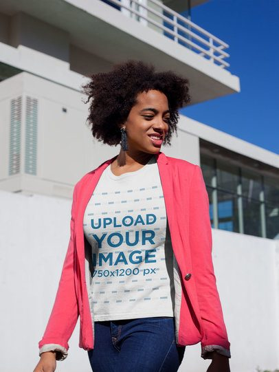 Mockup of a Woman Wearing a T-Shirt and a Sweet Pink Blazer Outside a House 18201
