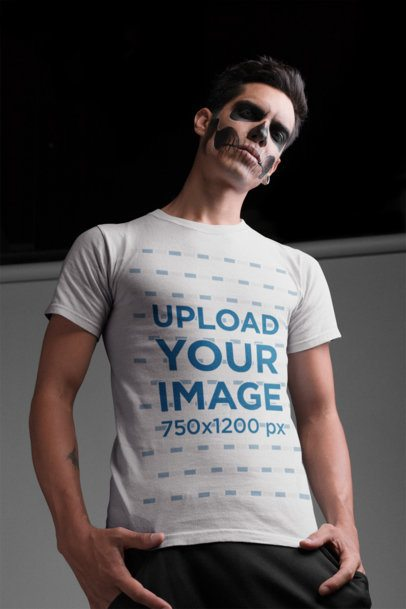 T-Shirt Mockup Featuring a Man with Skeleton Makeup 22940