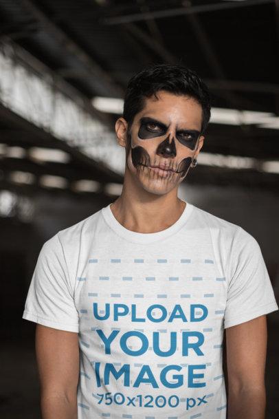 Mockup of a Man Wearing a T-Shirt and Skull Makeup 22942
