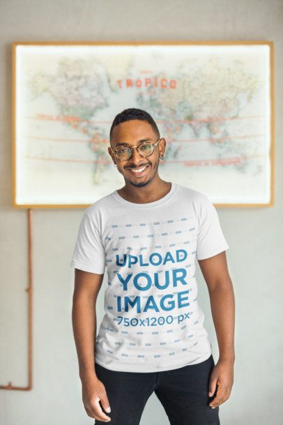 T-Shirt Mockup of a Happy Man in Front of a Map 21043