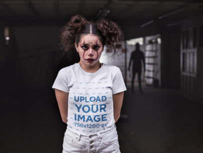 Mockup of a Woman Wearing a T-Shirt with a Shadow Man Standing Behind Her 22928