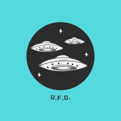 UFO Graphic Phone Grip Design Template 706b