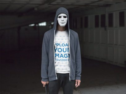 T-Shirt Mockup of a Man in a Scary White Mask 22944