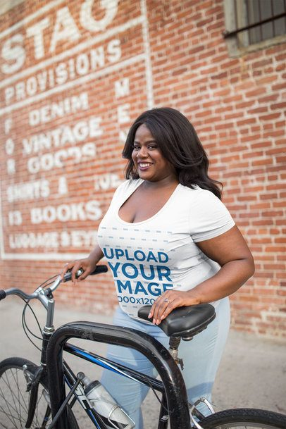 Mockup of a Woman Wearing a Plus Size T-Shirt with her Bike 18297