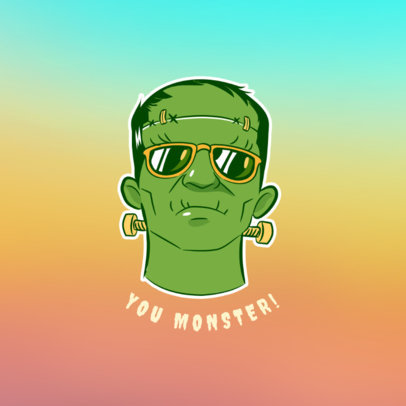 Chill Frankenstein Popsocket Template 688a