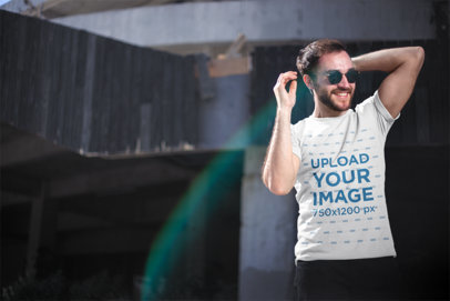 Round Neck Tee Mockup of a Happy Man Wearing Sunglasses 20056