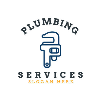 Plumbing Services Logo Maker with Pipe Wrench Graphics 1501a