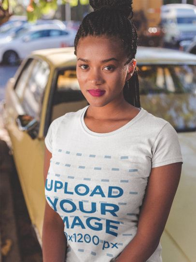 Round Neck Tee Mockup of a Girl with Braids Leaning Against a Car 18170