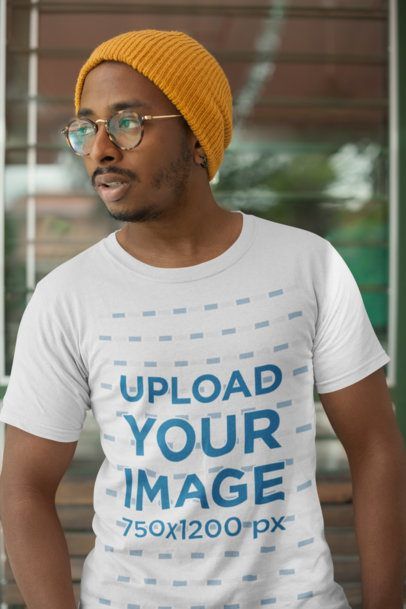 T Shirt Mockup of a Man with Trendy Glasses and a Winter Hat 21033