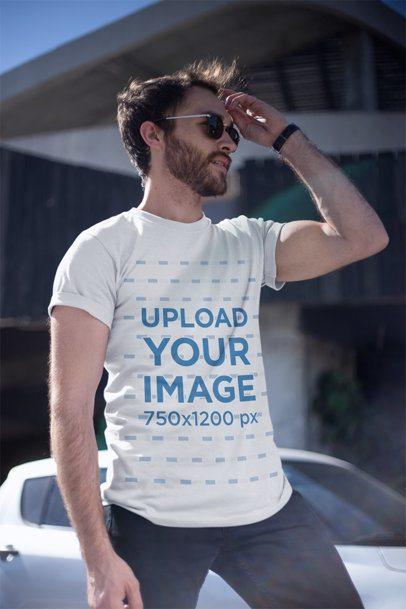 T-Shirt Mockup of a Handsome Man Wearing Sunglasses 20071