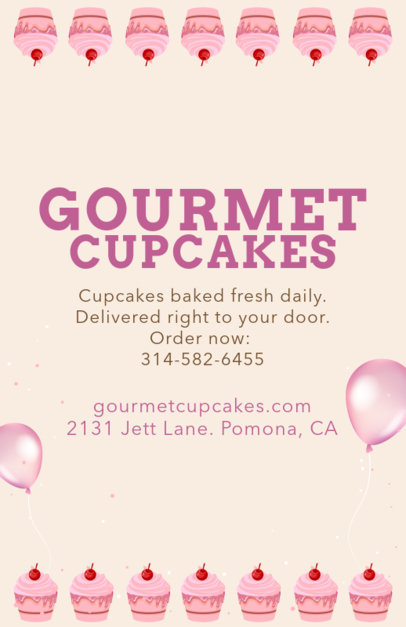 Flyer Design Maker for Gourmet Cupcakes 496c