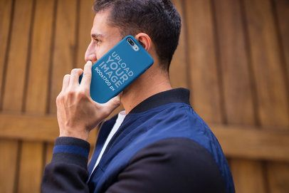 Phone Case Mockup of a Man Talking on the Phone 22869