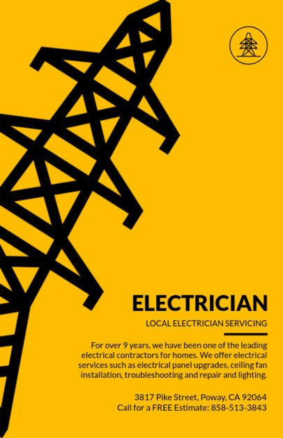 Industrial Electrician Online Flyer Template 721b
