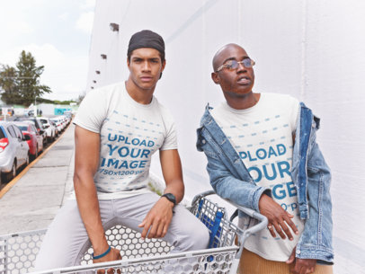 Mockup of Two Men Wearing T-Shirts With a Shopping Cart 22410