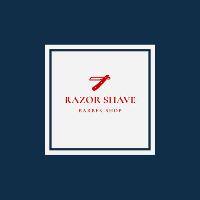 Barber Shop Logo Template for a Straight Razor Shave Barber 1479d