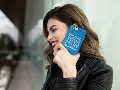 iPhone Case Mockup of a Stylish Girl Making a Phone Call 22901