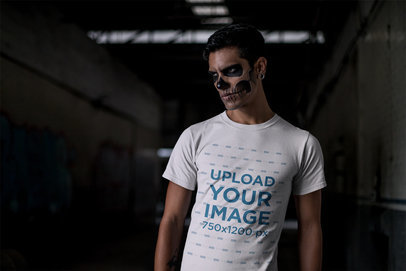 Mockup of a Man with Halloween Skull Makeup Wearing a T-Shirt 23018