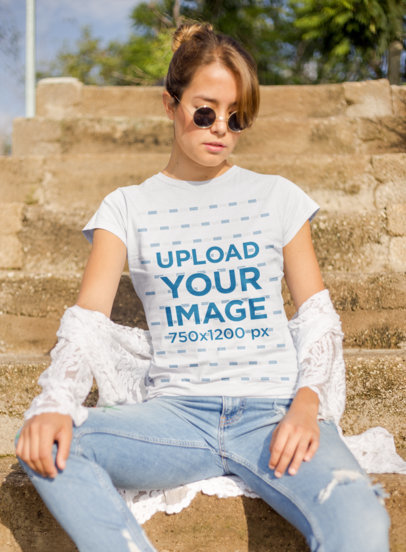 Mockup of a Cool Woman Wearing a T-Shirt and Sunglasses 22510