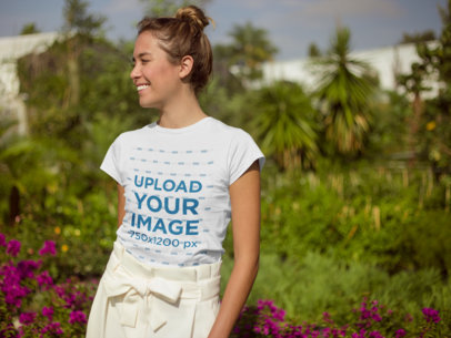 Mockup of a Woman with a Top Knot Wearing a T-Shirt  22496