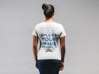 Back Shot Mockup of a Woman with a Messy Bun Wearing a T-Shirt 21573