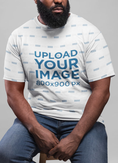 Sublimated T-Shirt Mockup Featuring a Serious Man with a Beard  21525