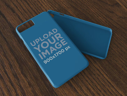 iPhone Case Mockup Lying Over a Wooden Surface 23162
