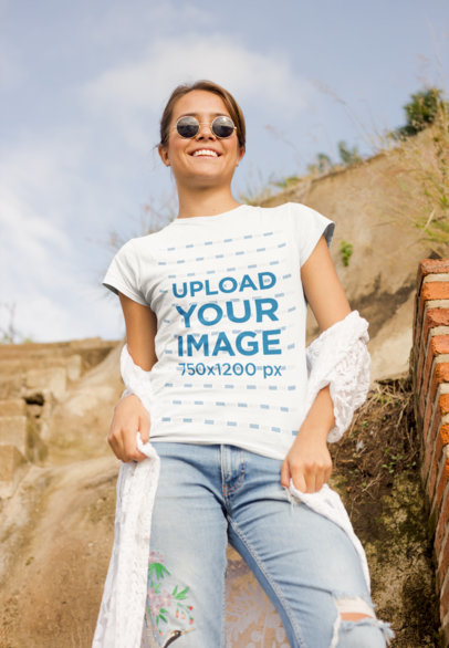 T-Shirt Mockup of a Woman in a Sunny Desert Area 22489