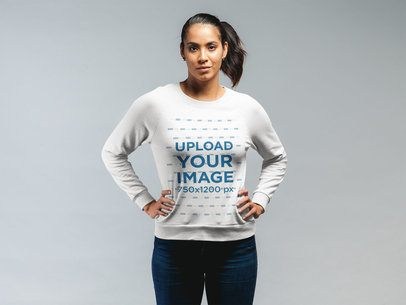 Sweatshirt Mockup Featuring a Woman Standing With Her Hands on Her Hips 21576