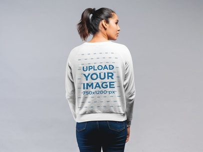 Back View Sweatshirt Mockup of a Woman With Her Hair in a Pony Tail 21578
