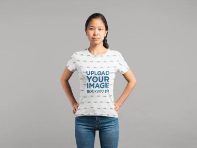 Studio Mockup of a Girl Wearing an All-Over T-Shirt 21781