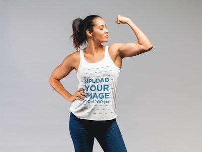 Tank Top Mockup of a Woman Flexing her Bicep 21580