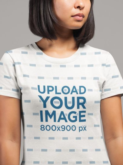 Cropped Face Mockup of a Woman Wearing an All-Over T-Shirt at a Studio 21730