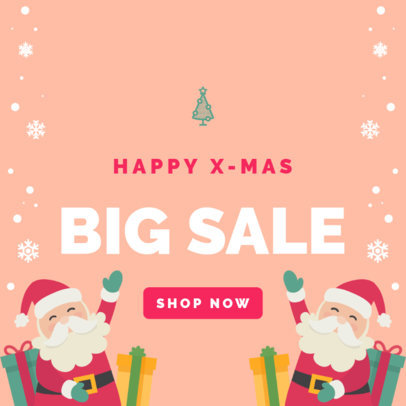 Xmas Banner Maker for Store Sales with Santa Graphics 781