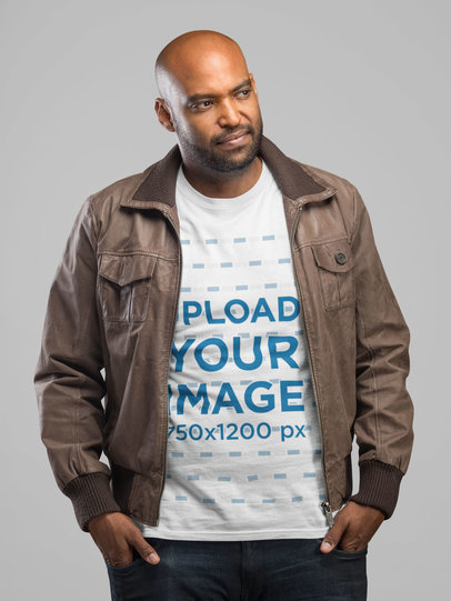 Mockup Featuring a Man Wearing a T-Shirt and a Brown Leather Jacket 21695